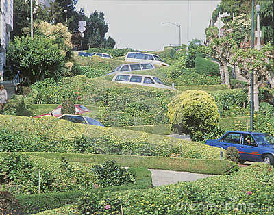 Cars parked on Lombard Street in San Francisco, CA Editorial Image