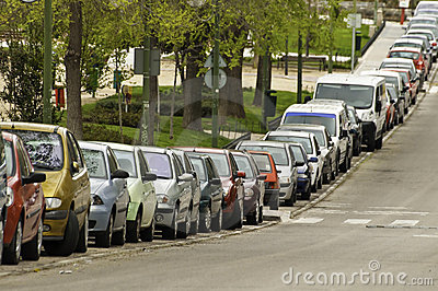 Cars parked on the street