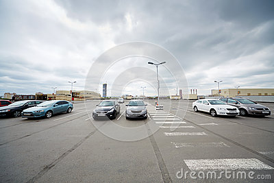 Cars on roof parking at shopping and entertainment center Editorial Photography