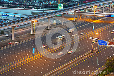 Cars on Sheikh Zayed Road in Dubai Editorial Stock Image