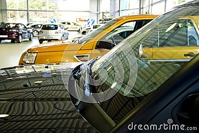 Cars in a showroom