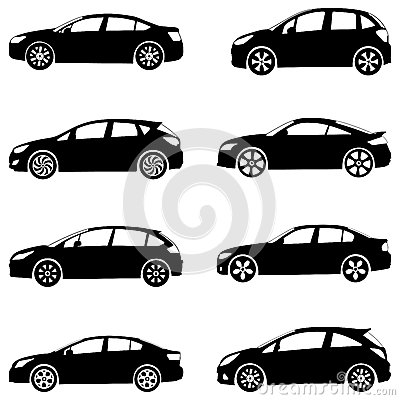 Cars silhouette set