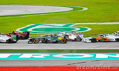 Cars on track at race of Formula 1 Editorial Image