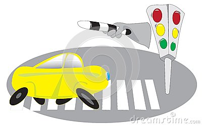 Cars, traffic lights, pedestrian crossing