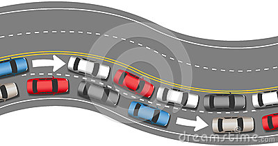 Cars travel traffic go one direction