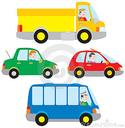 Cars, truck and bus