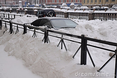 Cars Under Snow Editorial Image