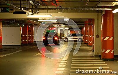 Cars in an underground garage