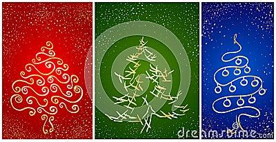 Cartão com a árvore do ano novo do stylization