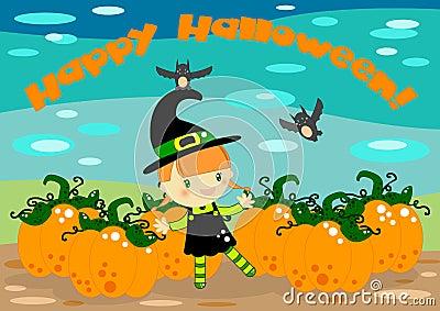 Cartão da bruxa de Halloween