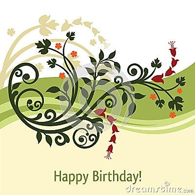Cartão de aniversário verde e amarelo