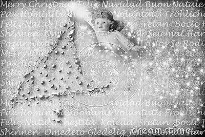 Cartão do anjo com cumprimentos em muitas línguas
