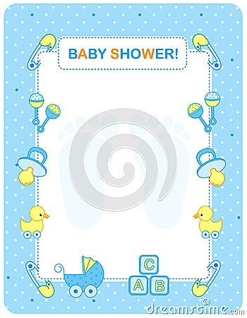 Cartão do chuveiro de bebê para meninos
