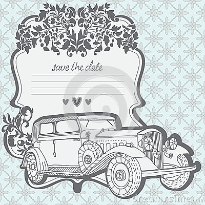 Cartão do convite do casamento com carro retro