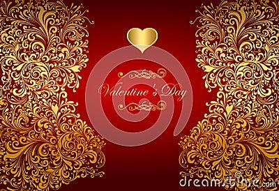 Cartão do feriado com coração dourado