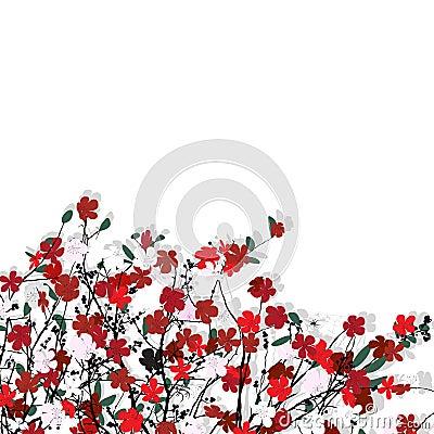 Teste padrão floral sobre o branco