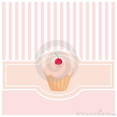 Cartão ou convite doce, cor-de-rosa com queque