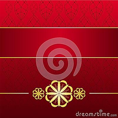 Cartão vermelho dourado
