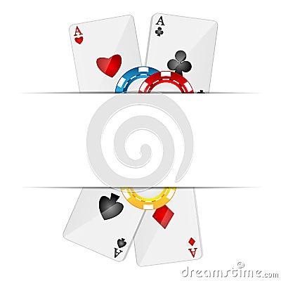 Cartões de jogo e microplaquetas de pôquer