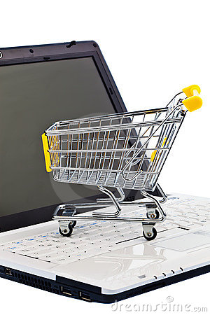 Cart and keyboard. Online Shopping