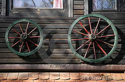 Cart wheel house decoration