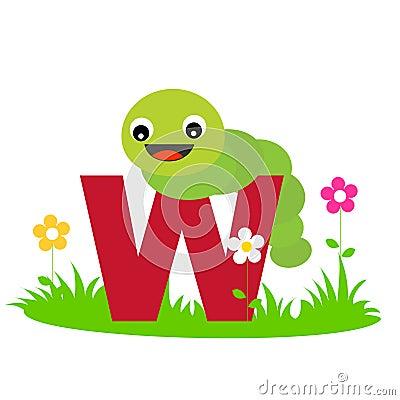 Carta animal del alfabeto - W