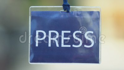 Carta blu, permesso per giornalisti, privilegio per i mass media, evento stock footage