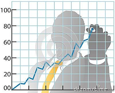 Carta de la cuota de mercado de las ventas del gráfico del hombre de negocios