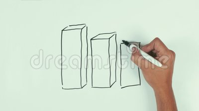 Carta de moeda dimensional da tração da velocidade do homem com a pena preta do sharpie no whiteboard filme