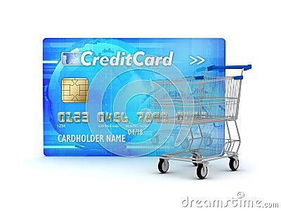 Carta di credito e carrello di acquisto