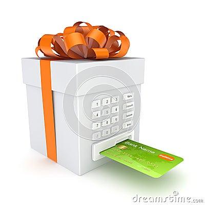 Carta di credito inserita in un contenitore di regalo.