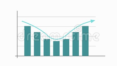 Carta do gráfico com seta, curva gaussian, animação video ilustração stock