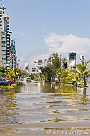 Cartagena flooded street
