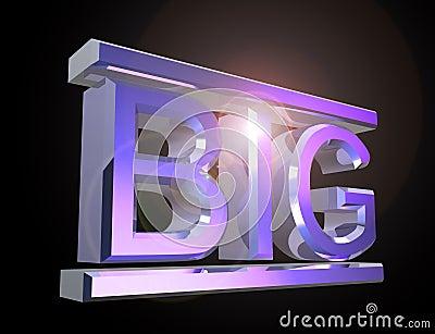 Cartas brillantes grandes que forman la palabra GRANDE