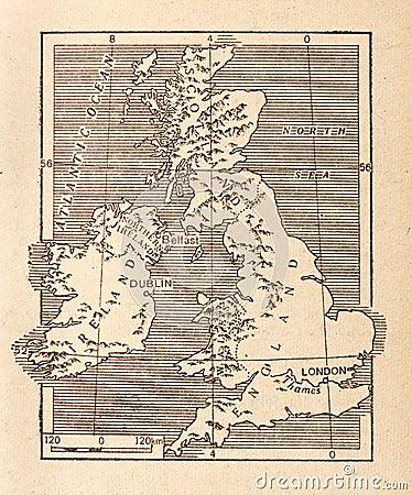 Carte antique de la Grande-Bretagne
