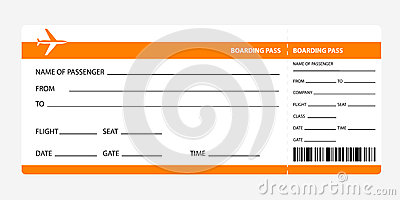 Carte D Embarquement Orange Illustration De Vecteur