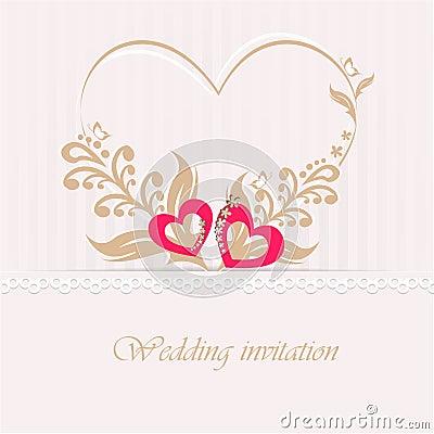 carte d 39 invitation de mariage avec les coeurs d coratifs. Black Bedroom Furniture Sets. Home Design Ideas
