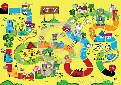 Carte De Catoon De Ville Photo stock - Image: 35226560