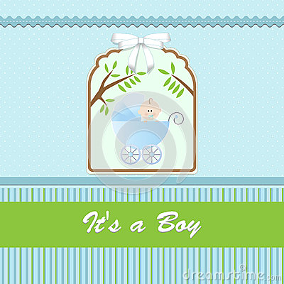 carte de f te de naissance pour le b b gar on avec la poussette et le fond bleu vert photo. Black Bedroom Furniture Sets. Home Design Ideas