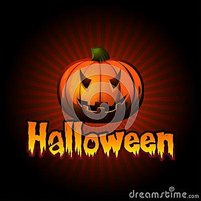 Carte de Halloween avec le potiron et les rayons