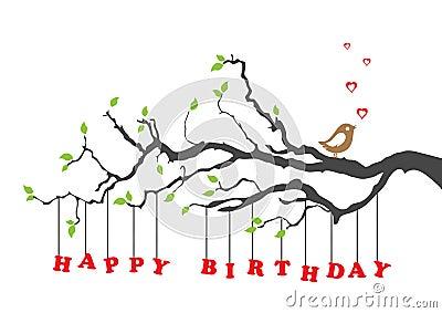 Carte de joyeux anniversaire avec l oiseau