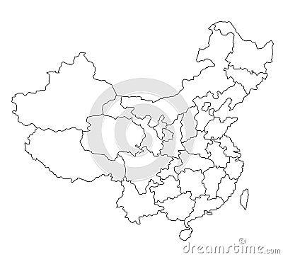 Carte de la Chine - blanc