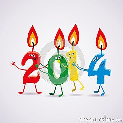 Carte de la nouvelle année 2014 de vecteur avec des bougies