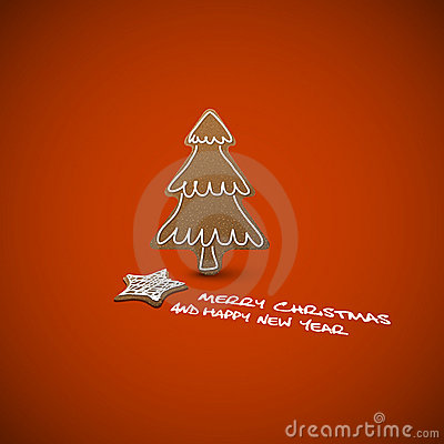 Carte de Noël - pains de gingembre avec le givrage blanc