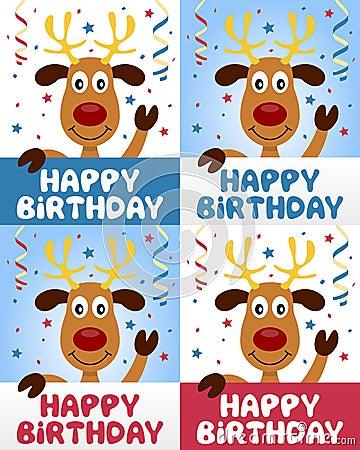 Renne mignon de joyeux anniversaire