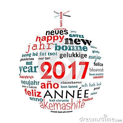 Carte de voeux multilingue de nuage de mot des textes de la nouvelle ann e 2017 illustration - Texte carte de voeux 2017 ...