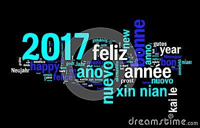 Carte de voeux 2017 sur le fond noir nouvelle ann e dans - Bonne annee dans toutes les langues ...