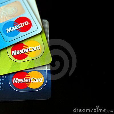 Carte di credito della Mastercard Fotografia Editoriale