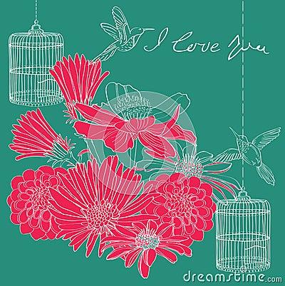 Carte florale de Valentine de vacances