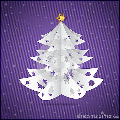 Carte postale de papier d 39 arbre de no l d 39 origami images stock image 32005604 - Arbre de noel origami ...